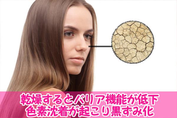 肌の乾燥が刺激となり黒ずみの原因となる