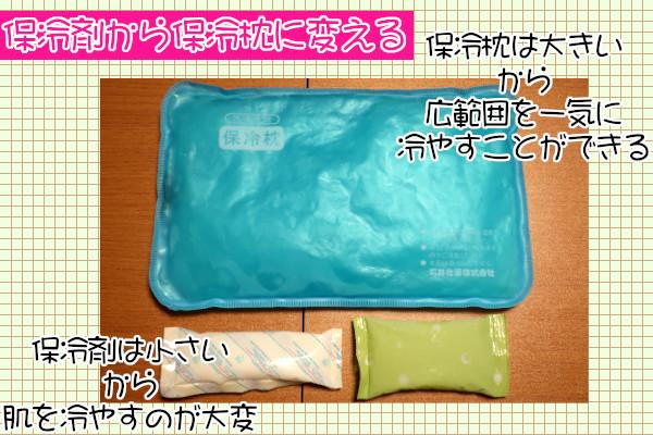 ケノン照射時、保冷剤をジェル状の大きな保冷枕に交換する